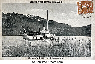 old postcard of Annecy lake, the boat on the lake