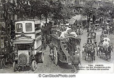 old postcard of bets, crossroads Montmartre boulevard and of...