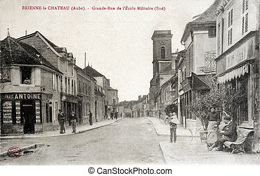 old postcard of Brienne-le-Chateau, main street of the military school