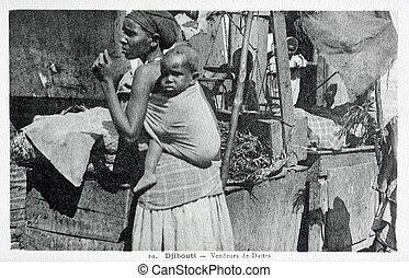 old postcard of Djibouti, seller of dates