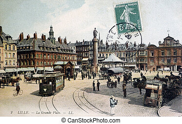 old postcard of Lille, the great place