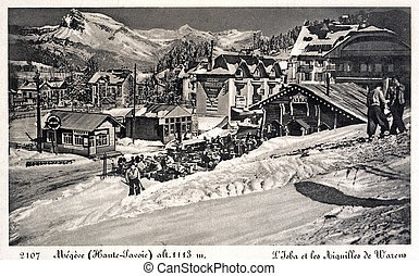 old postcard of Megeve