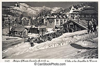 old postcard of Megeve
