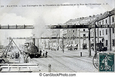 old postcard of Nantes, warehouses of the chamber of ...