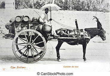 old postcard of one going of sicilian wine...