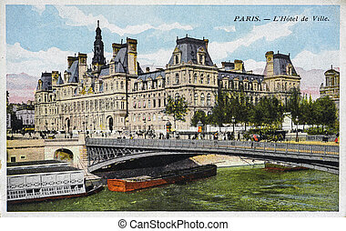 old postcard of Paris, the town hall - old postcard of...