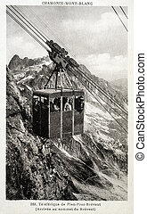old postcard of Plan-Praz-Brevent, cable car...