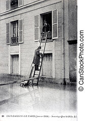 old postcard of the Paris floods in January 1910