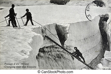 old postcard of the passage of a crack...