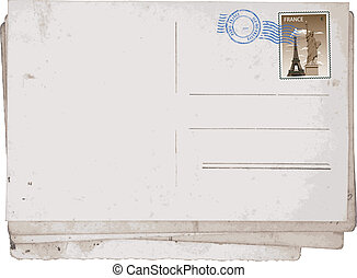 Old postcards from Paris - Reverse side of Old vintage...