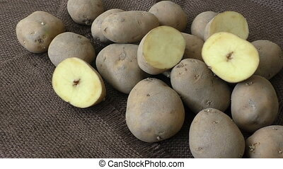 Old potatoes on jute sack