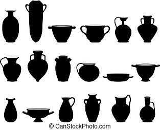 Old crockery objects black and white silhouettes