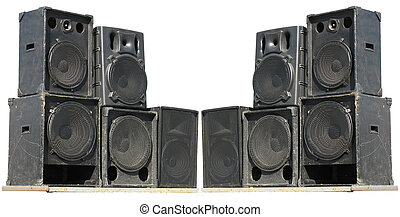 old powerful stage concerto audio speakers isolated on white...