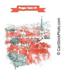 Old Prague skyline view. - Vintage postcard with Old Prague...