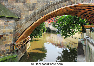 Old Prague. - View on city canal from under the Charles ...