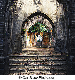 Old presbyterian church ruins Ross Island, port blair, Andaman and Nicobar India. the old abandoned staircase. Entrance to the abandoned building. dilapidated house.