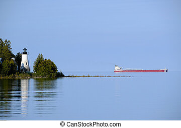 Old Presque Isle Lighthouse, built in 1840, Lake Huron,...