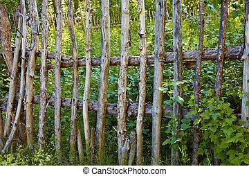 Old primitive village fence