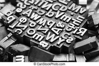 old print letters - A view of a heap of print letters. Taken...
