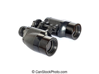 Old prism binoculars front view isolated on white