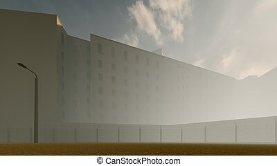 old prison in the fog 3d rendering