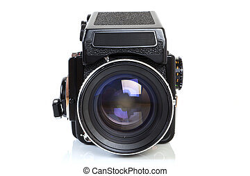 Old professional medium format camera. - Front view - Retro ...