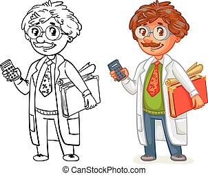 Old professor in lab coat. Funny cartoon character. Vector...