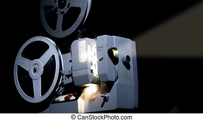 old projector showing film