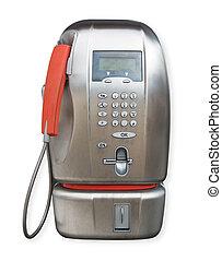 public phone on white background