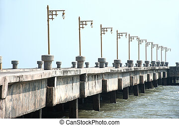 Old public pier on Southern of Thailand .