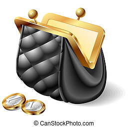 Vector illustration of an old purse with coins