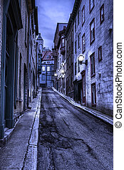 Old Quebec street at night, hdr