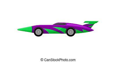 Old racing car with tinted windows and spoiler. Bright purple sports automobile with green wrap decal. Flat vector icon