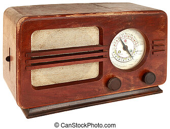 Old Radio Cutout - Old Wooden Radio Apparatus Isolated with...