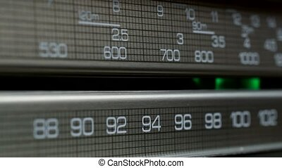 Old radio dial, searching for stations in different radio...