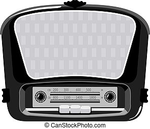 illustration of black vintage radio