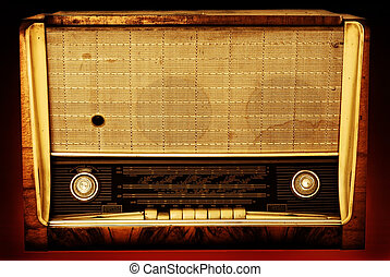 Old radio on a red background