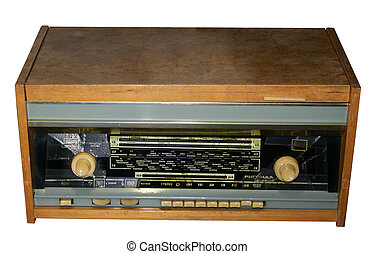 Old wooden radio design . Design of an old wooden radio... stock ...