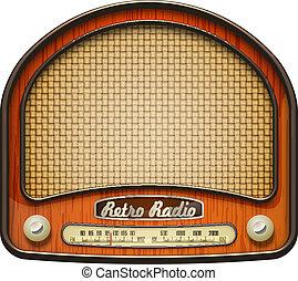 Realistic retro radio, isolated on white. EPS10 vector.