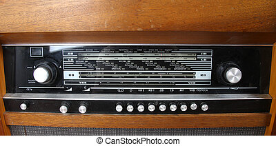 old radio receiver front panel