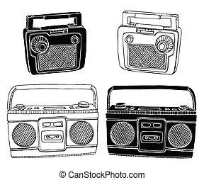 Old Radios - Hand drawn vector radios. Easily editable...