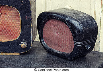 old radios, vintage image retro style