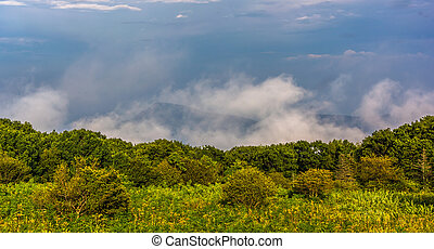 Old Rag Mountain in clouds, seen from Skyline Drive in...