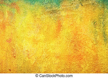 Old ragged wall: Abstract textured background with red, brown, and green patterns on yellow backdrop