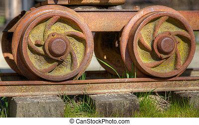 High dynamic range image of small gold mining rail car wheels