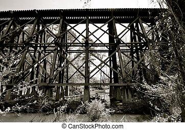 Old railroad bridge and trestles