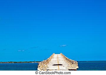old Railroad Bridge on the Bahia Honda Key in the Florida...