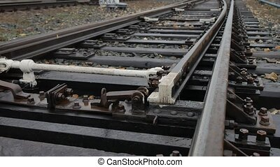 old railroad track switching rails outdoors way the road -...