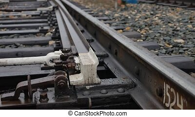 old railroad track switching rails way the road outdoors -...