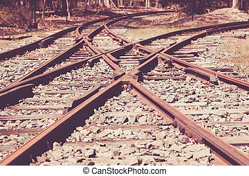 Old Railroad Tracks - A view of a junction on old railroad...